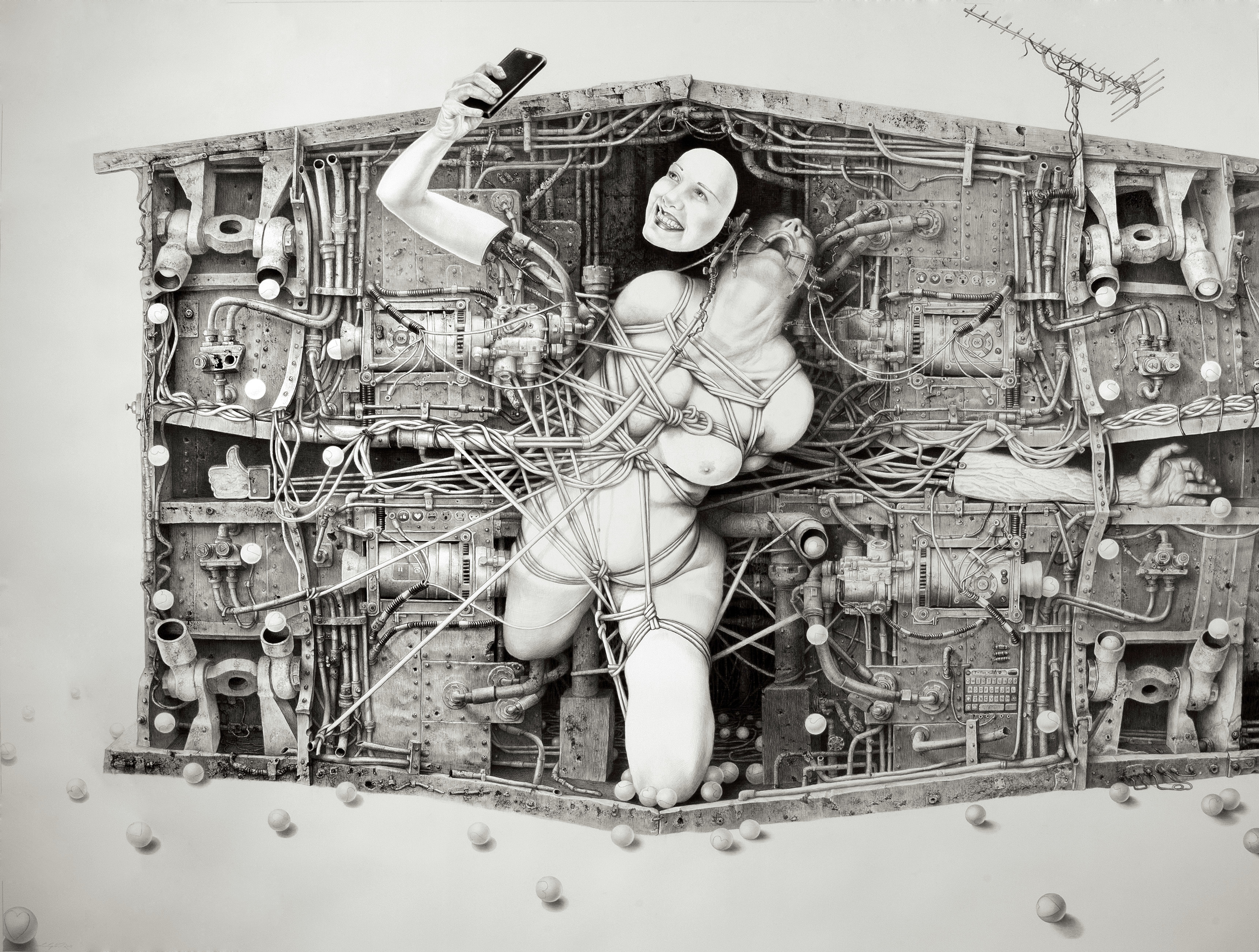 Laurie Lipton drawing, drawing, dystopia, technology, smart phone, I'm fine thanks, contemporary art, womens art, female