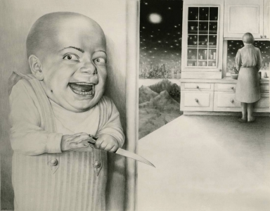 Laurie Lipton, drawing, Last Night I Dreamt I Murdered Mommy