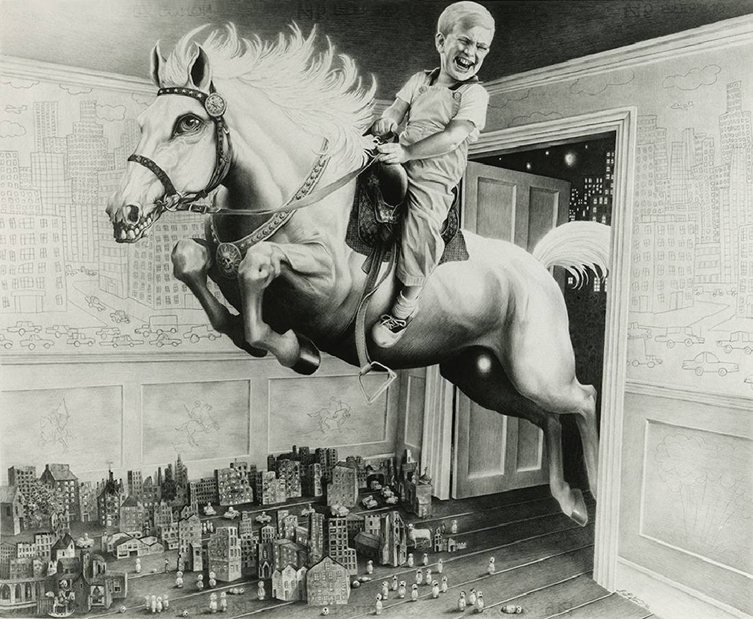 Laurie Lipton, drawing, pencils, fourth horsie of the apocalypse