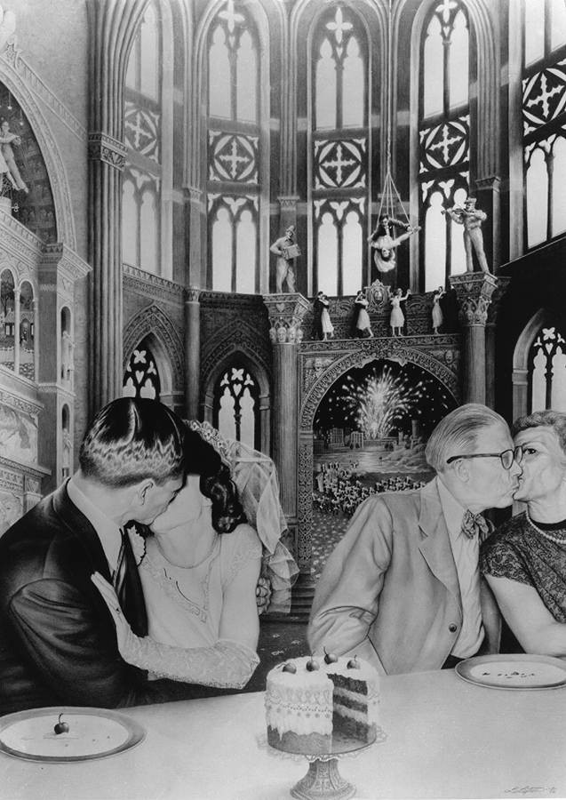 Laurie Lipton, drawing, pencils, the kiss