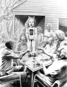 Laurie Lipton, drawing, pencils, When Company Comes I Have To Perform