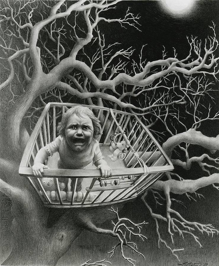 Laurie Lipton, pencil, drawing, when the bough breaks