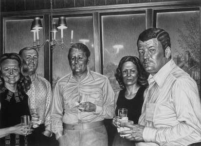 Laurie Lipton, pencil drawing, Happy Hour
