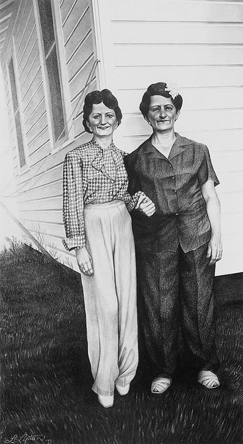 Laurie Lipton, pencil drawing, Vivian & Bertha
