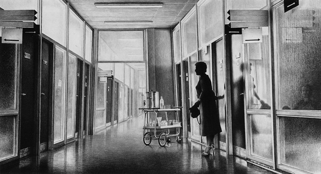 Laurie Lipton, pencil drawing, corridor