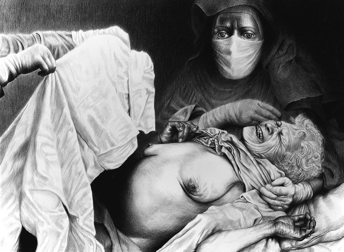 Laurie Lipton, pencil drawing, Giving Birth to Death