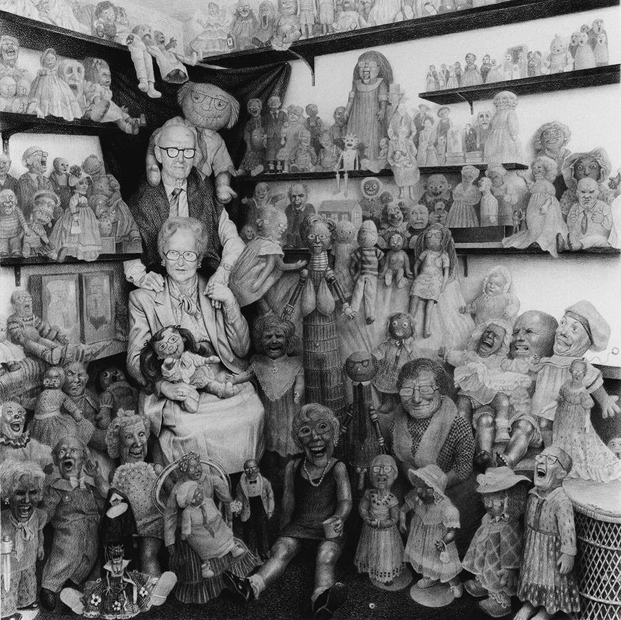 Laurie Lipton, pencil drawing, Goblins