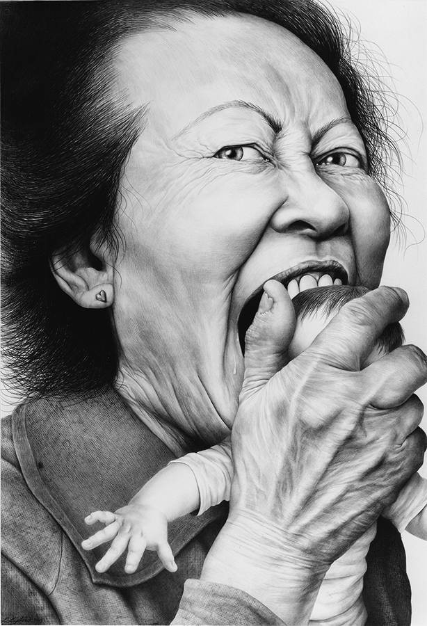 Laurie Lipton, pencil drawing, Love Bite