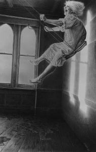 Laurie Lipton, pencil, drawing, swing