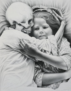 Laurie Lipton, pencil, drawing, death & the maiden