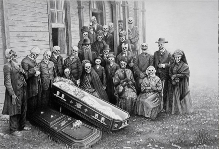 Laurie Lipton, pencil, drawing, family reunion