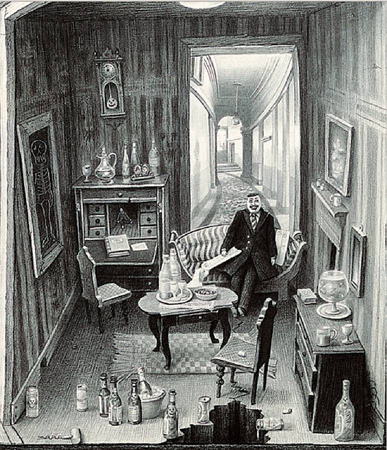 Laurie Lipton, pencil, drawing, the haunted dolls house, detail 1