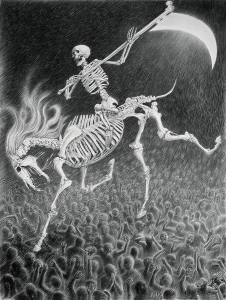 Laurie Lipton, pencil, drawing, The Fourth Horseman