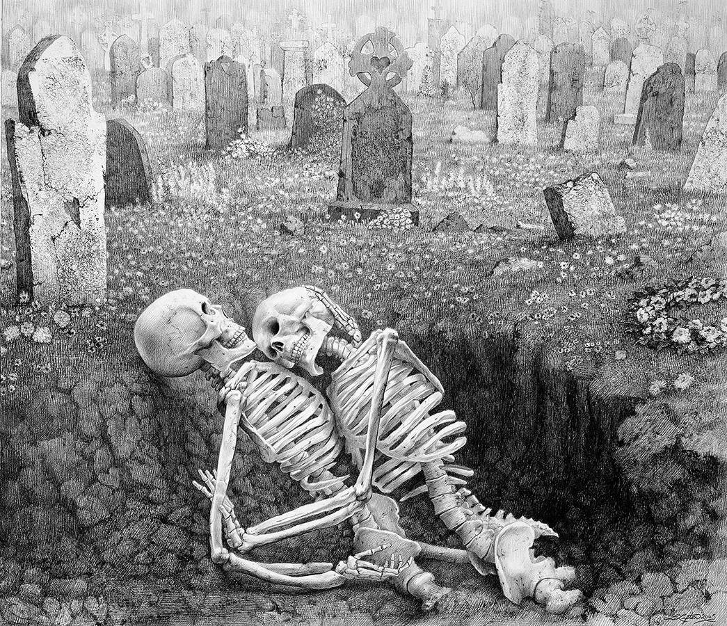 Laurie Lipton, pencil, drawing, The Last Embrace