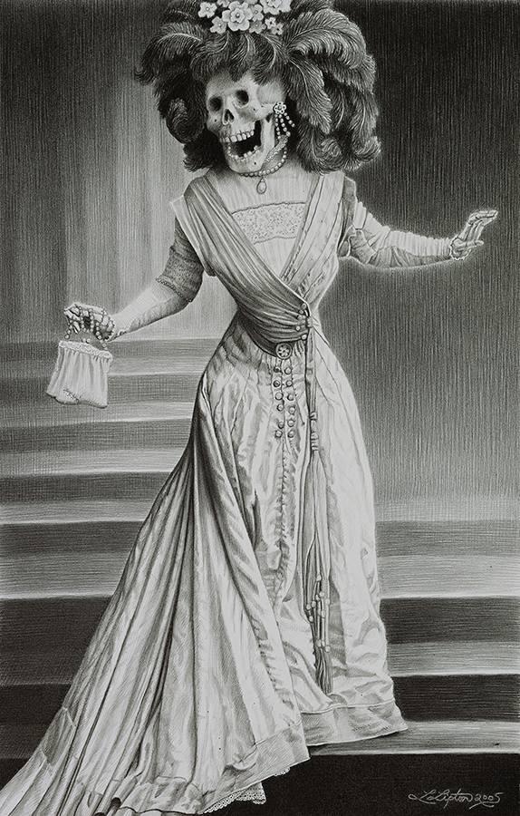 Laurie Lipton, pencil, drawing, la catrina
