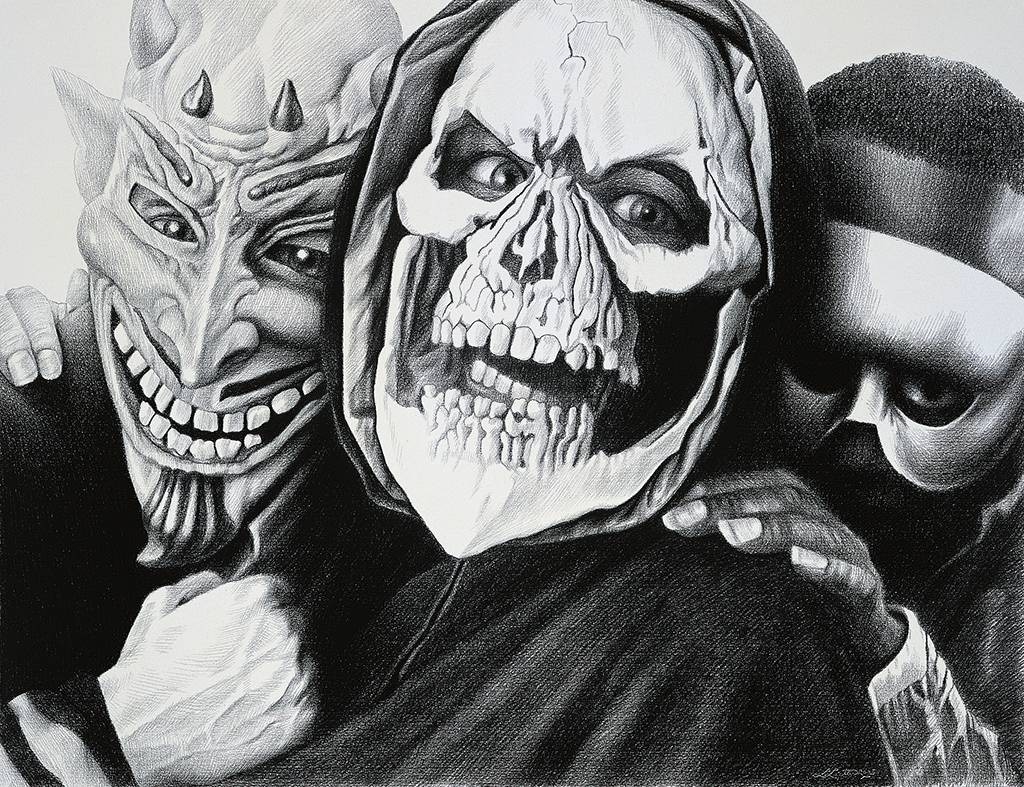 Laurie Lipton, pencil, drawing, maskers 2005