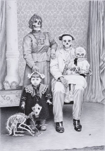 Laurie Lipton, pencil, drawing, Family Remains