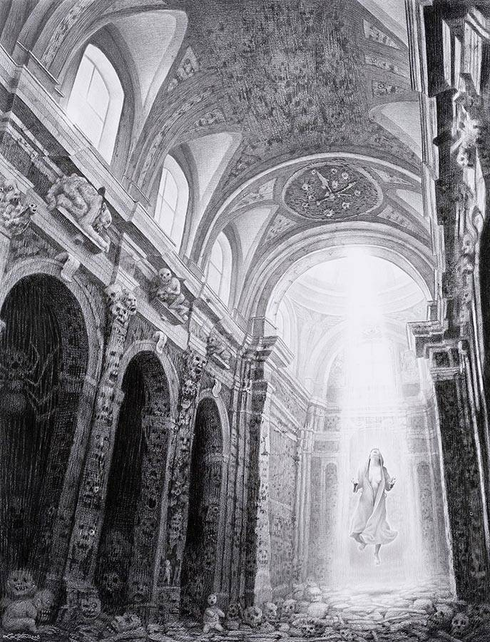 Laurie Lipton, pencil, drawing, Resurgam
