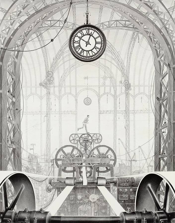 Laurie Lipton, pencil, drawing, Time Travel