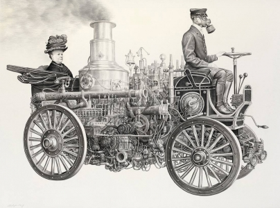 Laurie Lipton, pencil, drawing, motoring