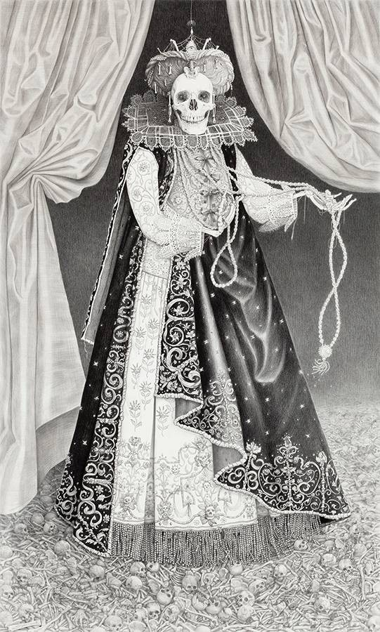 Laurie Lipton, pencil, drawing, Queen of Bones