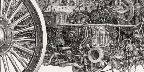 Laurie Lipton, pencil, drawing, motoring detail