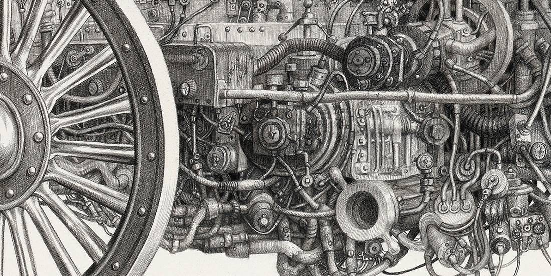 Laurie Lipton, pencil, drawing, motoring detail
