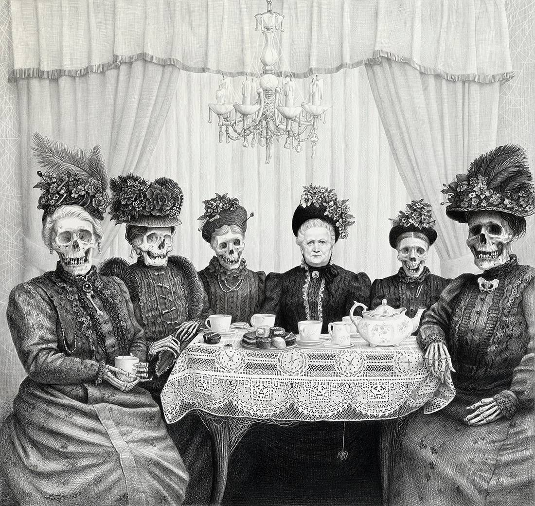 Laurie Lipton, pencil, drawing, Bone China