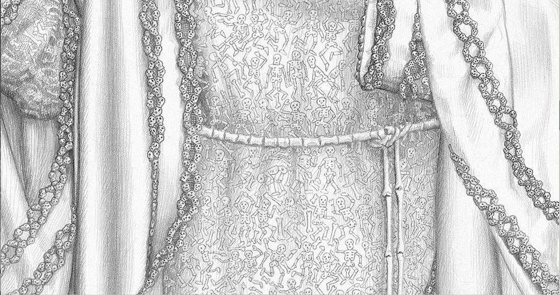 Laurie Lipton, pencil, drawing, santa muerte detail