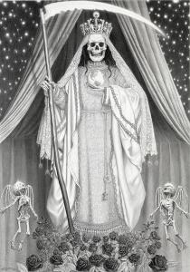 Laurie Lipton, pencil, drawing, santa muerte