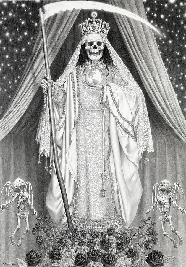 Laurie Lipton, pencil, drawing, santa muerte