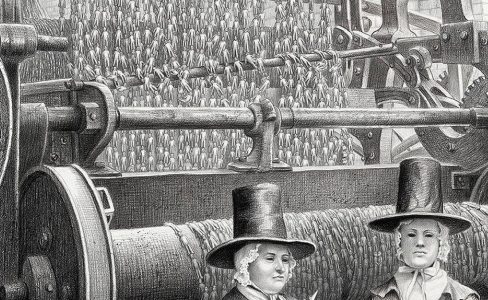 Laurie Lipton, pencil, drawing, the fates detail