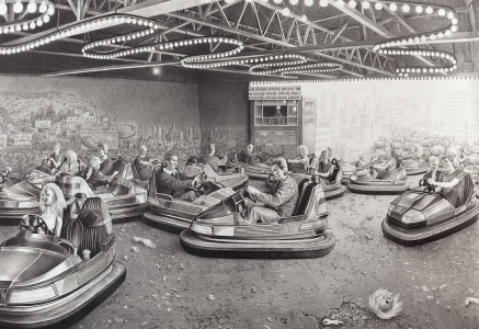 Laurie Lipton, pencil, drawing, bumper to bumper