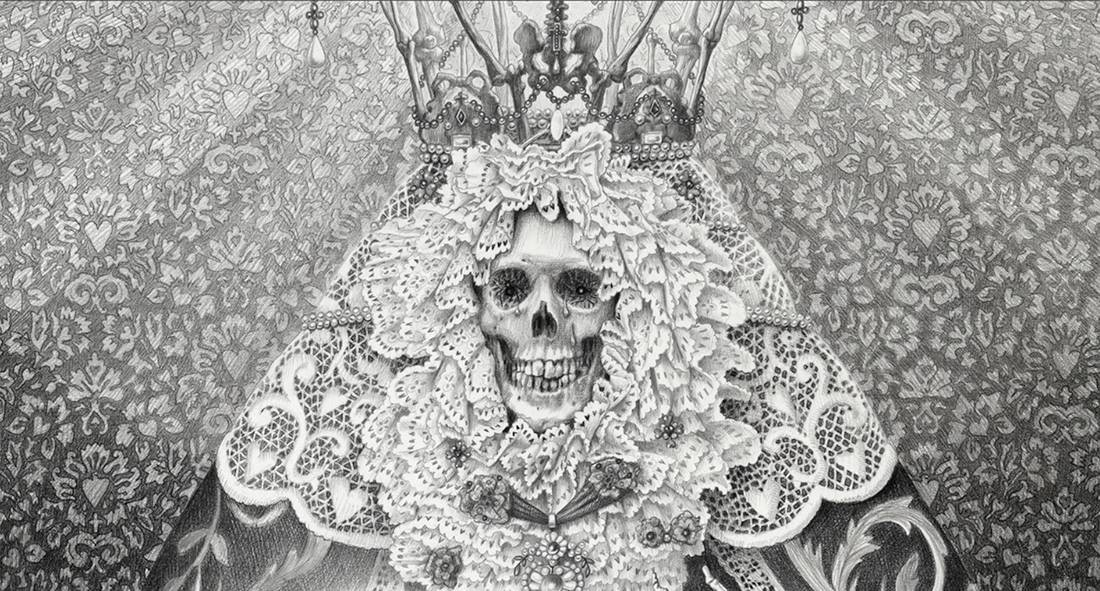Laurie Lipton, pencil, drawing, La Luz detail