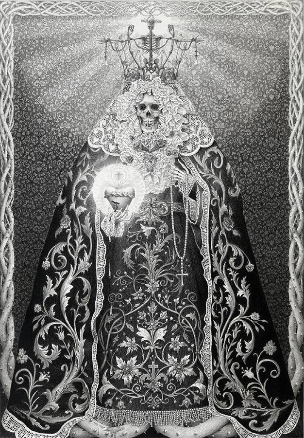 Laurie Lipton, pencil, drawing, La Luz