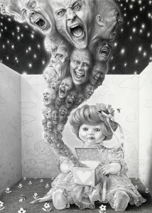 Laurie Lipton, pencil, drawing, Pandora's Box