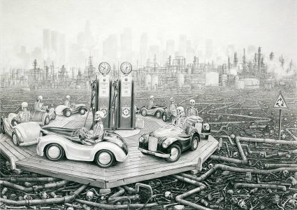 Laurie Lipton, pencil, drawing, round & round
