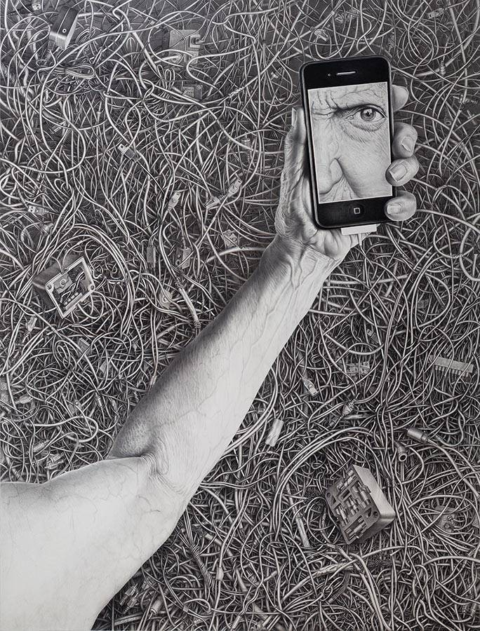 Laurie Lipton, pencil, drawing, wired