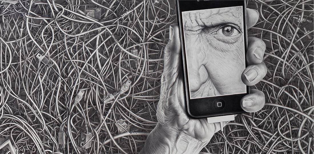 Laurie Lipton, pencil, drawing, wired detail