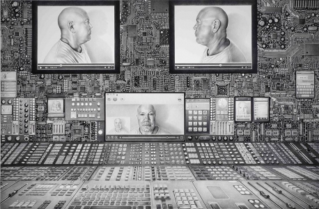 Laurie Lipton, pencil, charcoal, drawing, interface