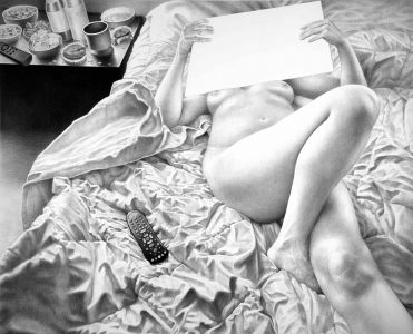 Laurie Lipton drawing, Binge Watching, drawing, contemporary art, womens art, black and white, technology, art, drawing
