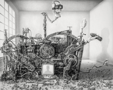 technology, social media, online, Laurie Lipton drawing, contemporary art, womens art, drawing