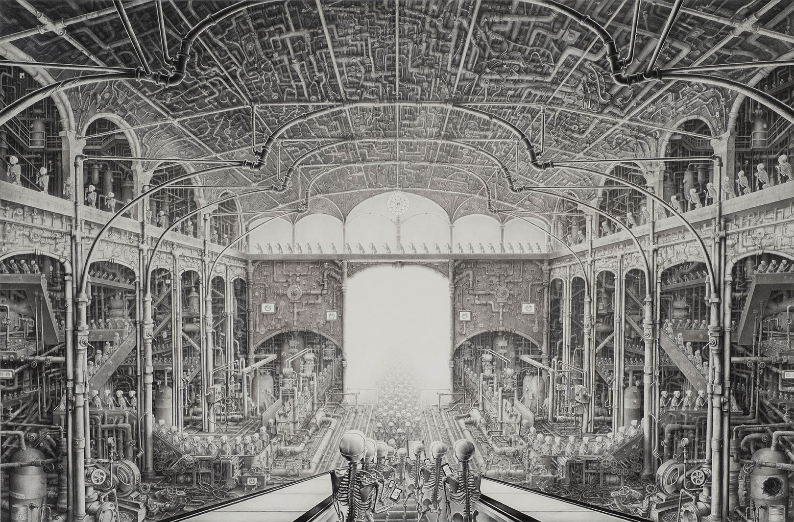 Laurie Lipton pencil drawing, Happy