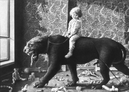 Laurie Lipton, pencil drawing, Leashed Passion