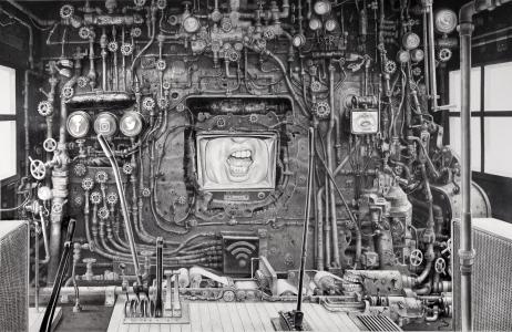 Laurie Lipton drawing, dystopian, technology, resist, drawing, contemporary art, anti-Trump art, art lover, art collector, art curator