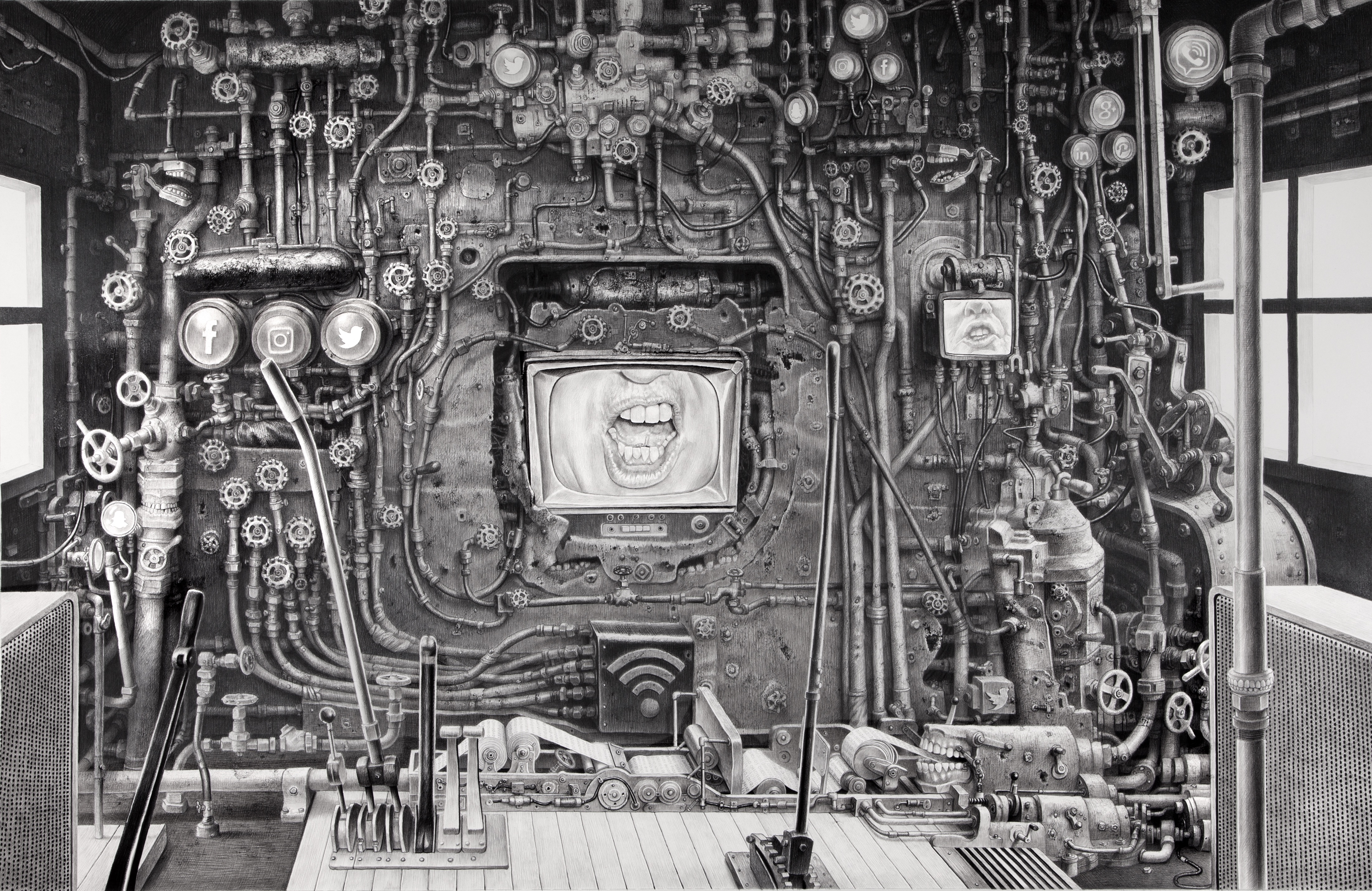 Laurie Lipton drawing, dystopian, technology, resist, drawing, contemporary art, anti-Trump art, art lover, art collector, art curator