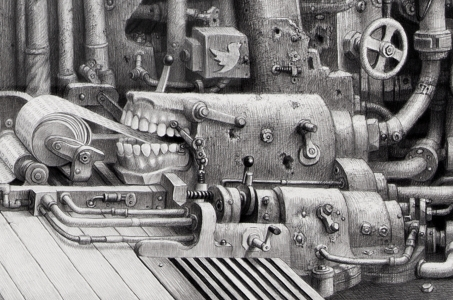 "Laurie Lipton drawing, ""Mouthpiece"" detail, black and white, dystopian technology, pencil drawing"