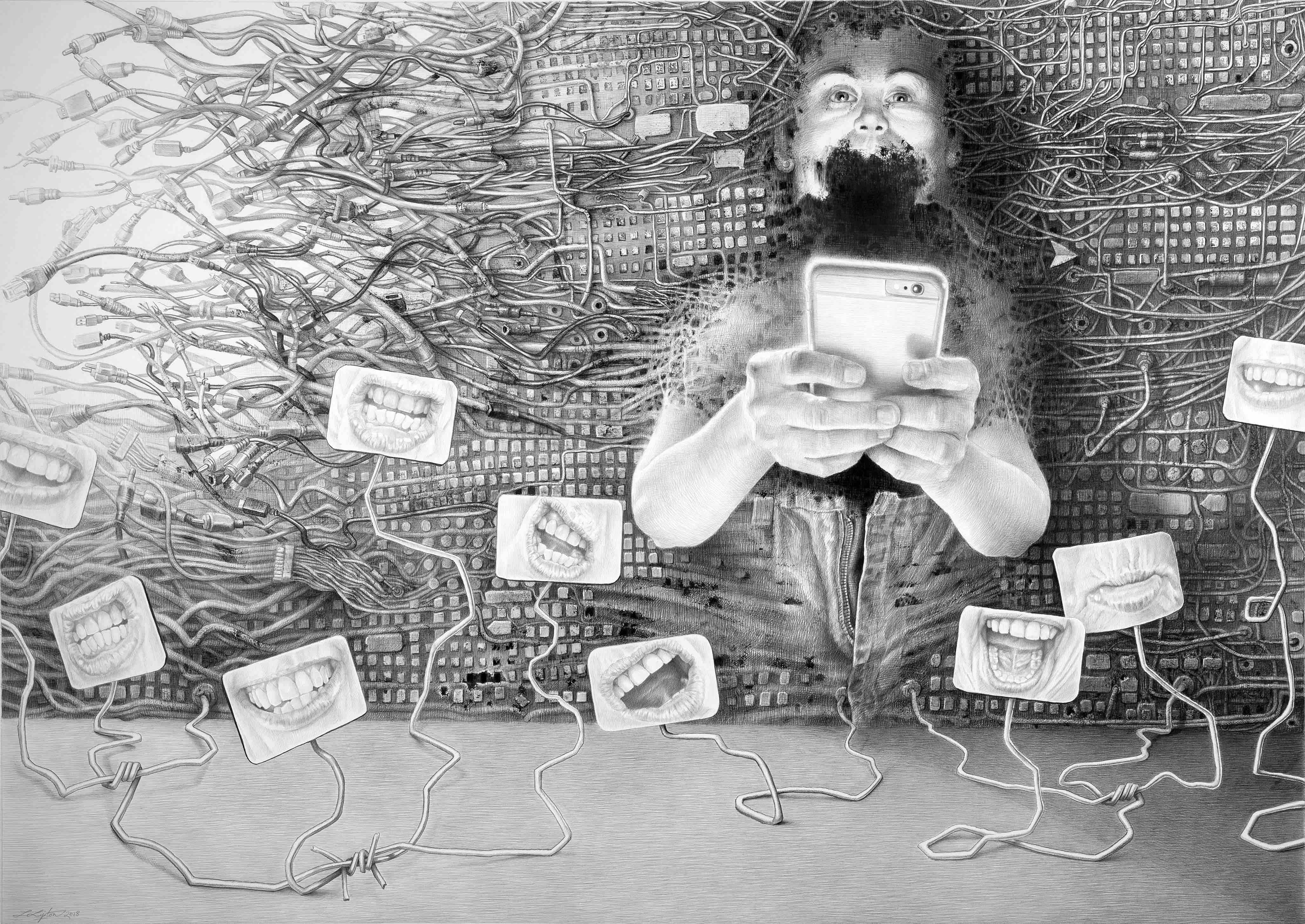 Laurie Lipton drawing, text messaging, drawing, contemporary art, womens art, technology, pencil, charcoal