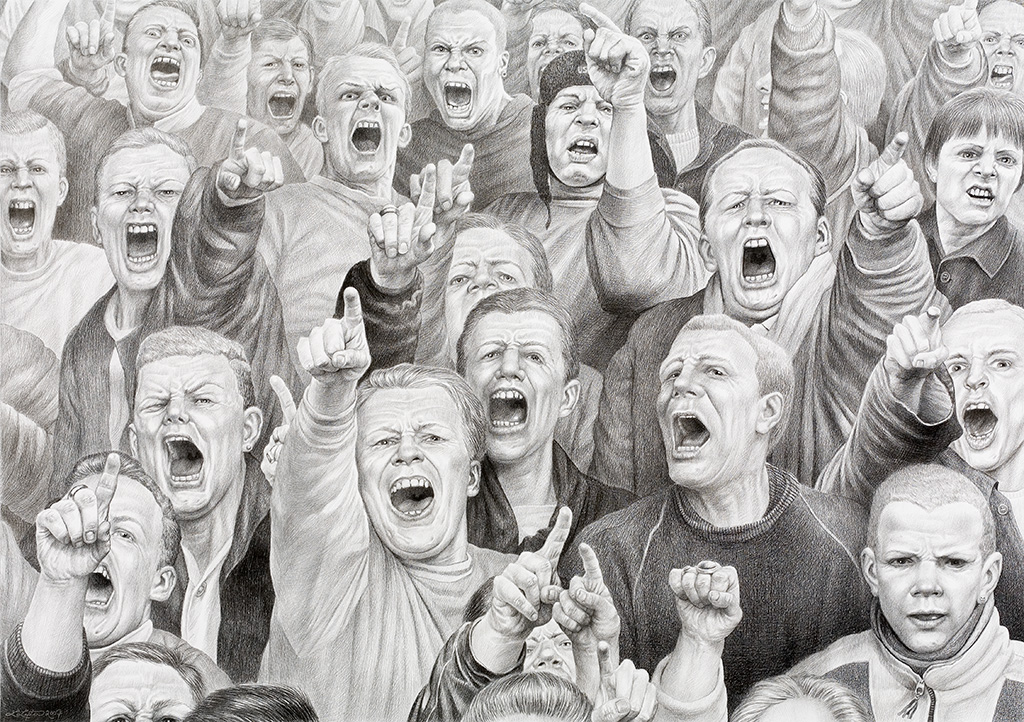 Laurie Lipton drawing, pencil drawing, contemporary art, art, art lovers, black & white, drawing, mob, screaming white males