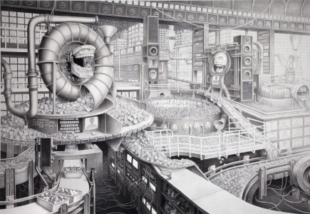 newsfeed, technology, drawing, contemporary art, Laurie Lipton drawing
